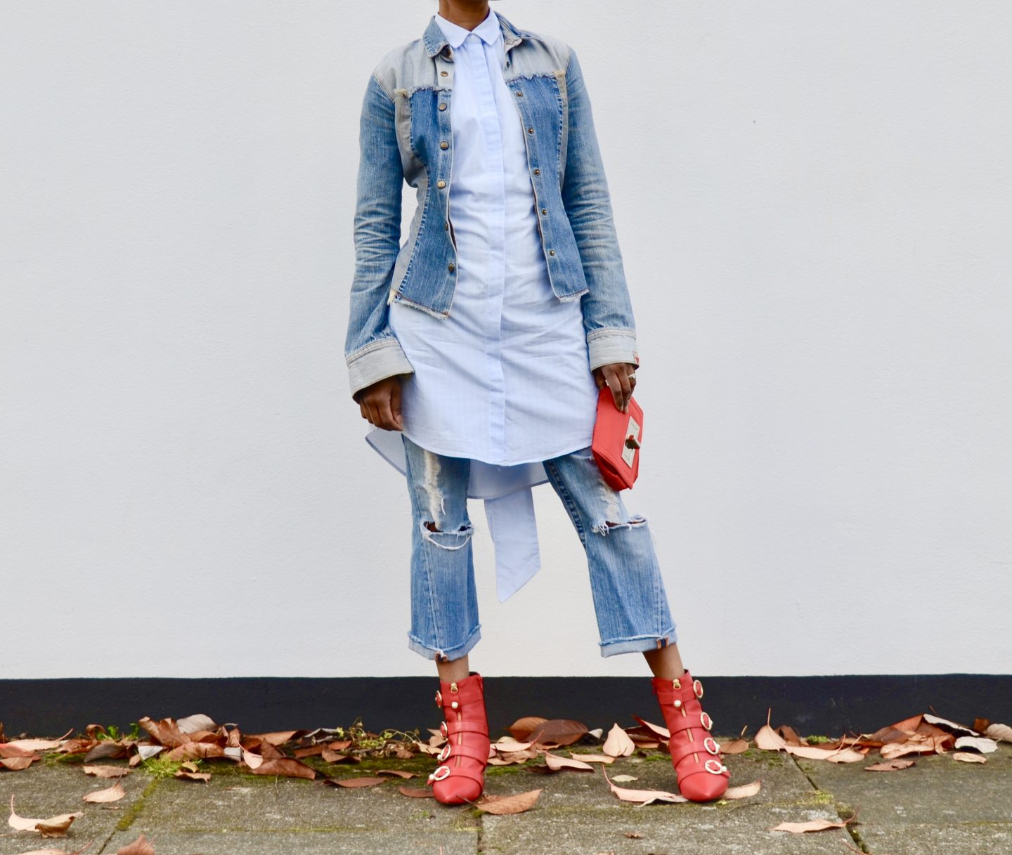 Denim and red boots
