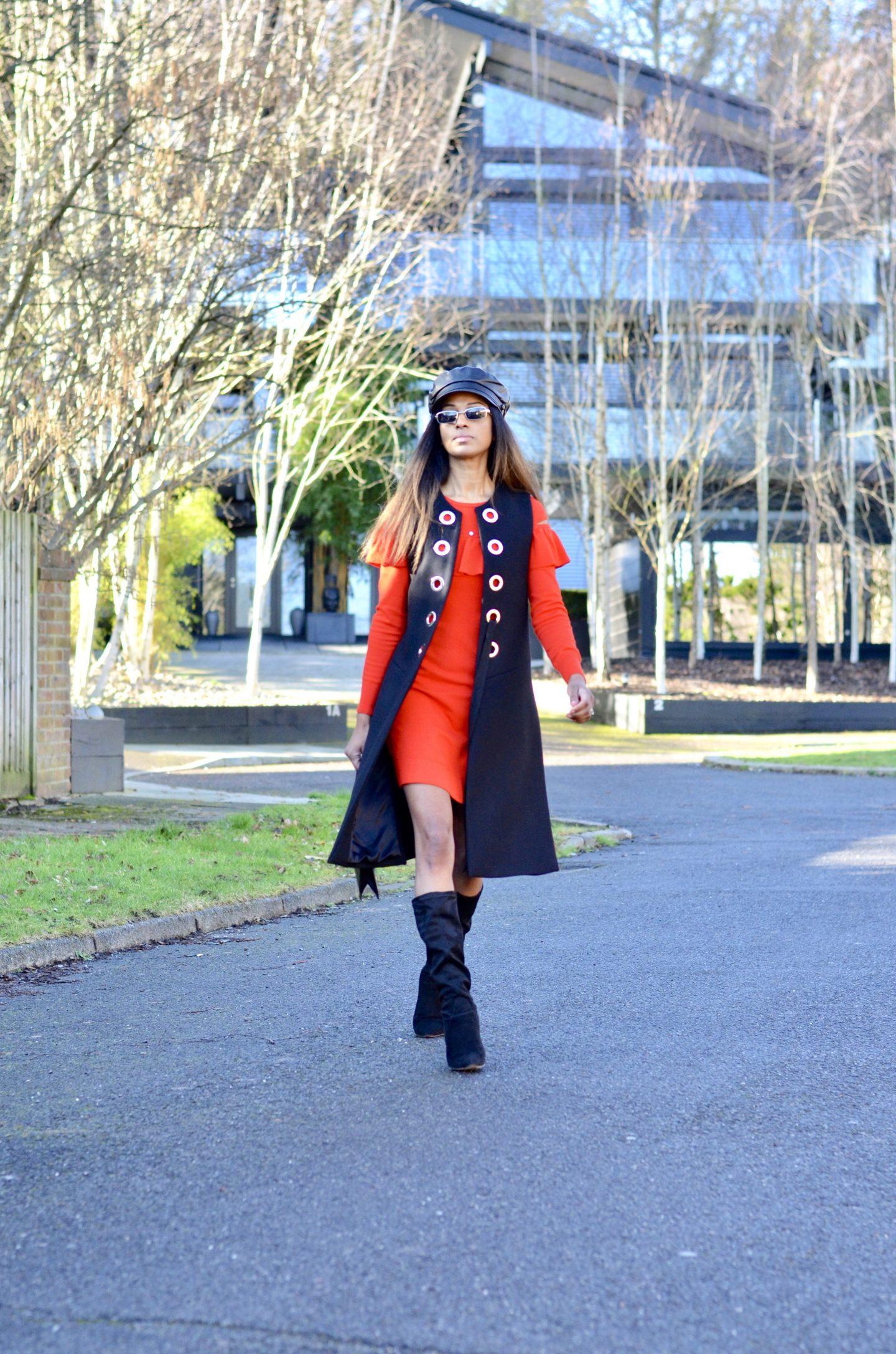 Red knit dress