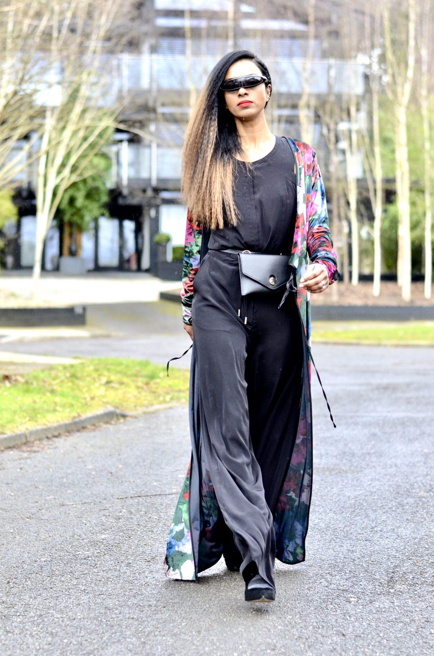 Karen Millen Jumpsuit and Zara Kimono