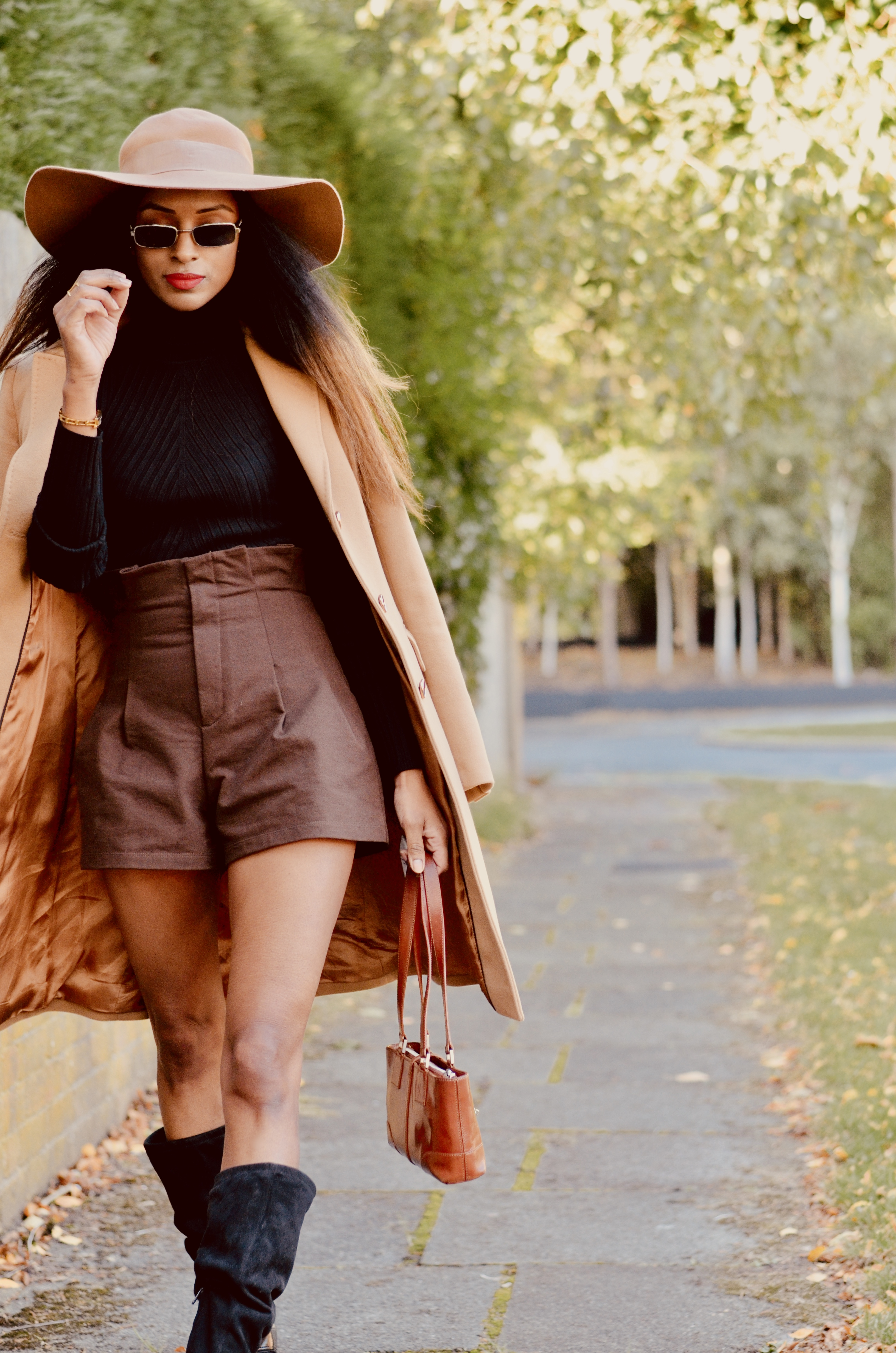 H&M BROWN SHORTS AND KAREN MILLEN COAT