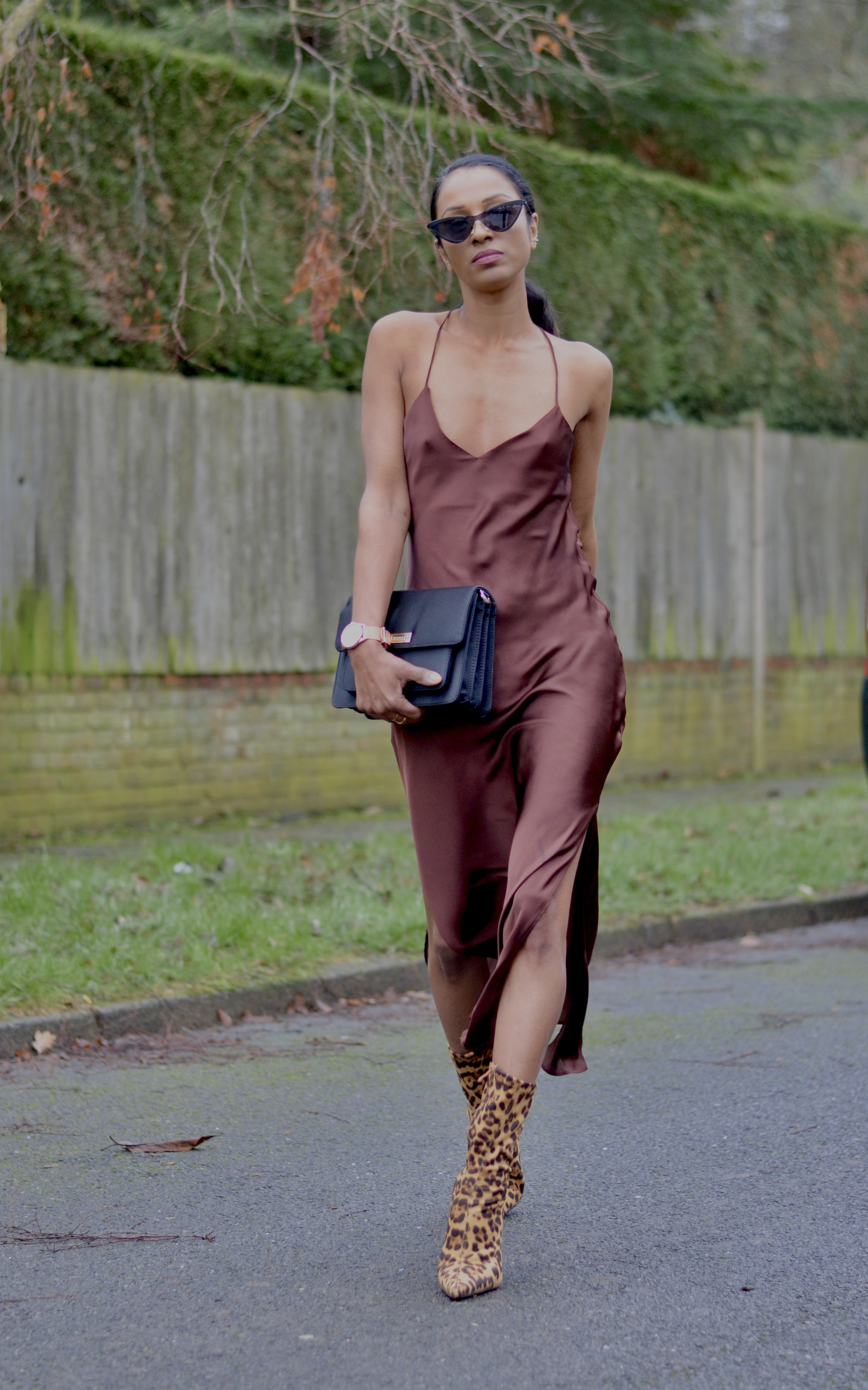 SATIN SLIP DRESS AND SOCK BOOTS