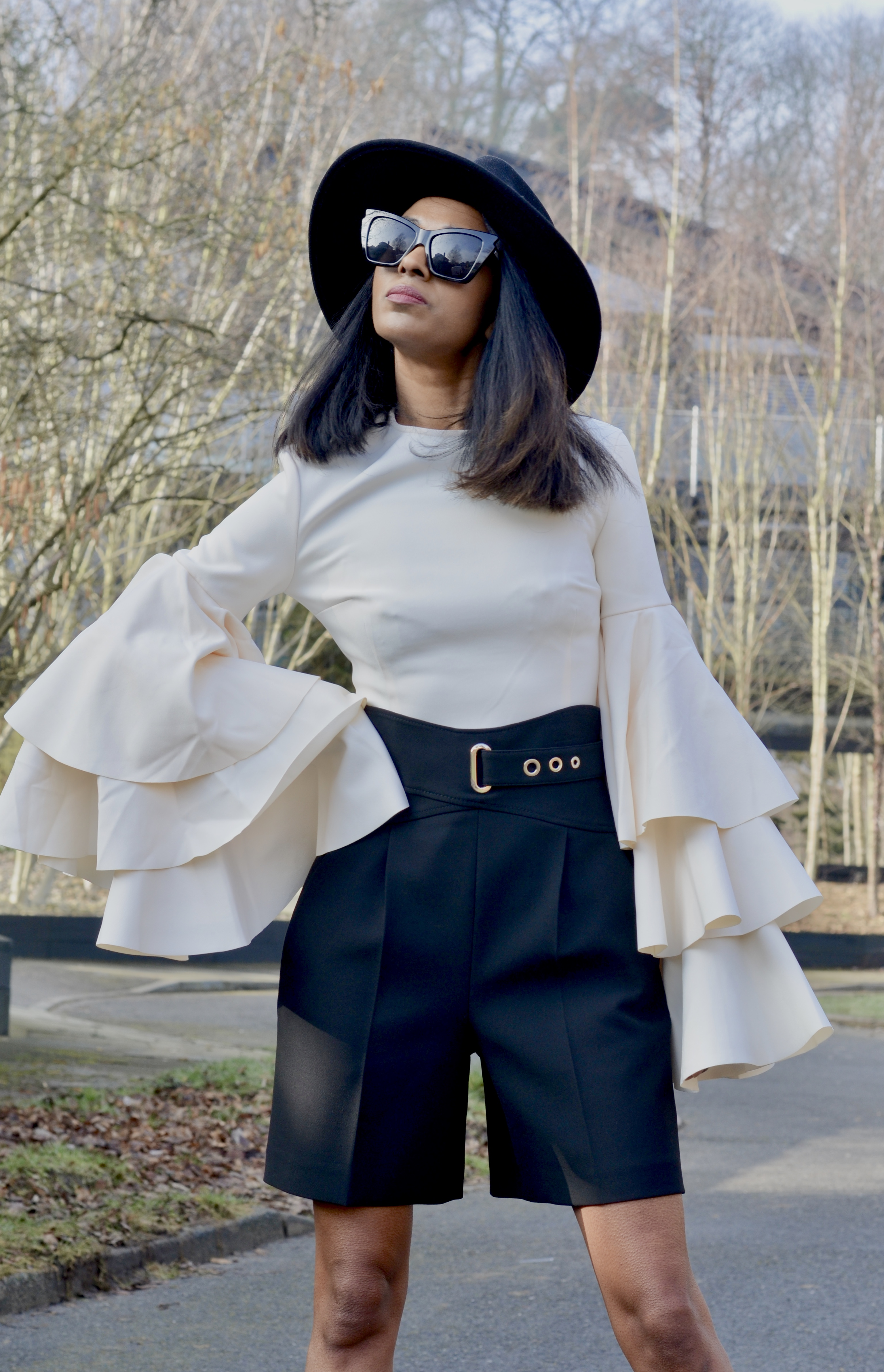 STATEMENT SLEEVE TOP AND TAILORED SHORTS