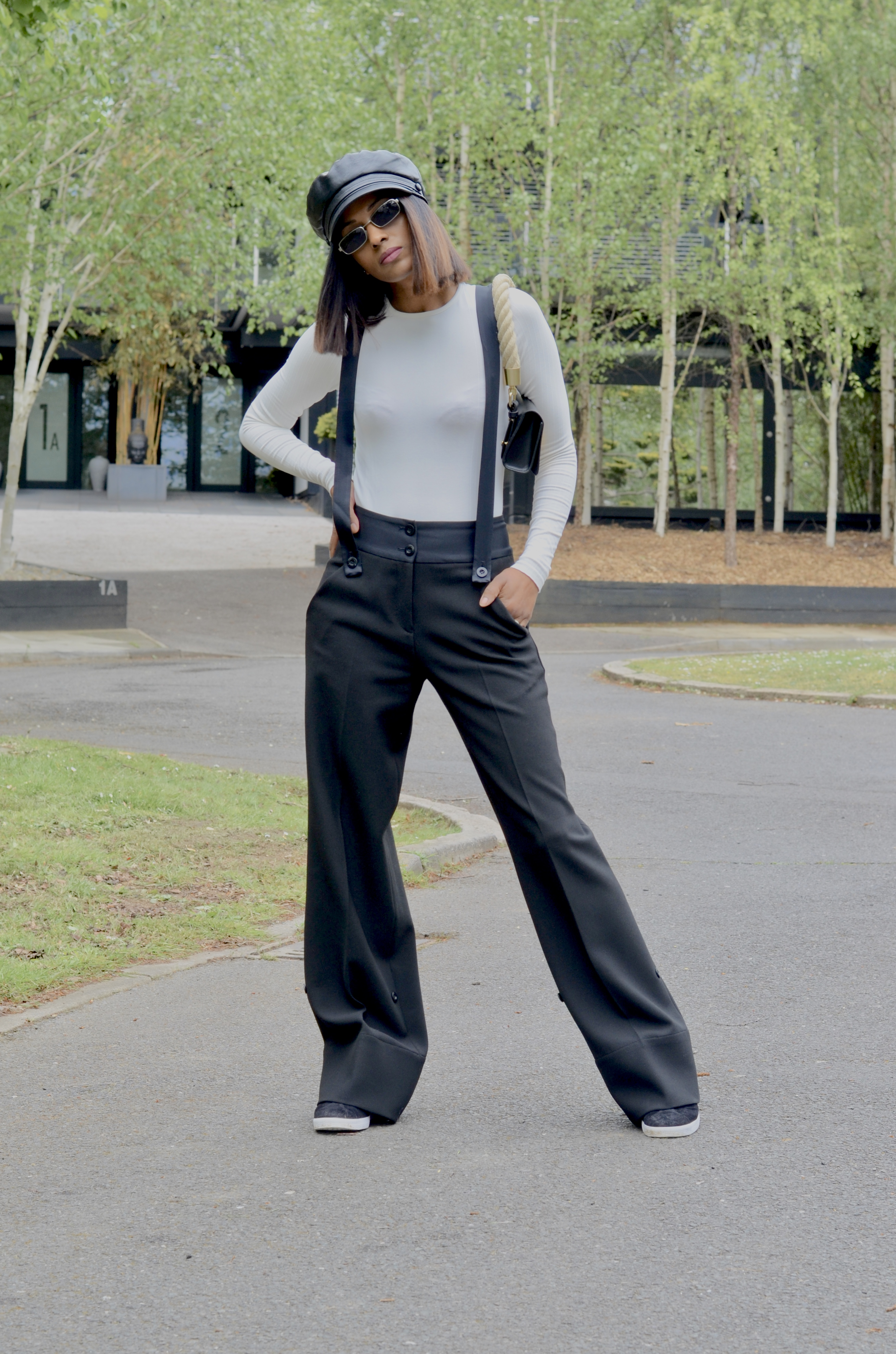 BODYSUIT AND TROUSERS WITH BRACES