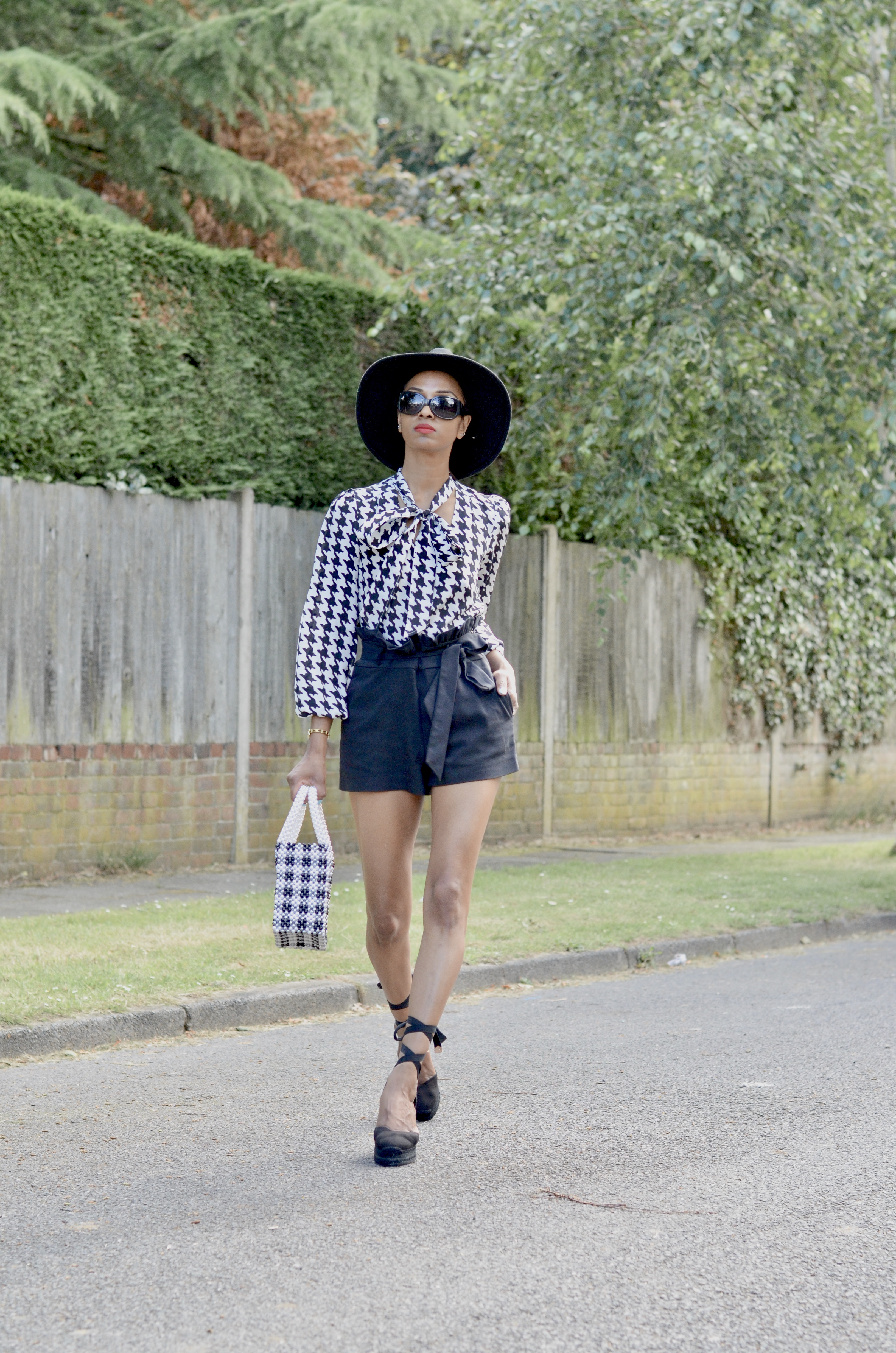 RIXO HOUNDSTOOTH BLOUSE AND SHRIMPS BAG